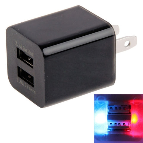 Colorful Visible Light US Plug Dual USB Power Adapter for New iPad (iPad 3) / iPad 2 / iPad / iPhone 6 & 6 Plus / iPhone 5 & 5S & 5C / iPhone 4 & 4S / 3GS / Samsung Galaxy Tab, Output DC 5V 2.1A & 1A, Black(Black Chargers & Adapters - MEGA Discount Online Store Ghana