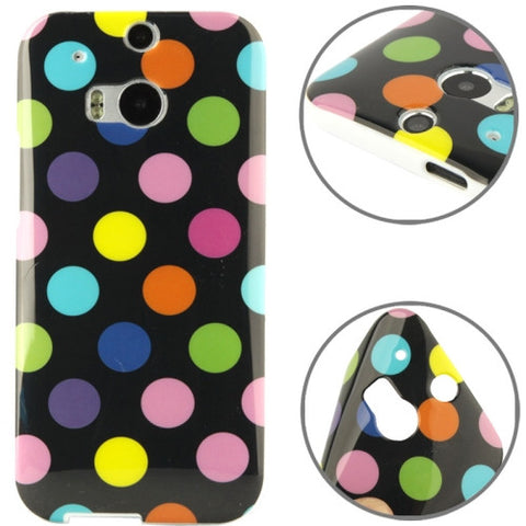 Buy Online  Black and Multicolour Polka Dot Pattern Smooth TPU Case for HTC One M8 HTC Cases - MEGA Discount Online Store Ghana