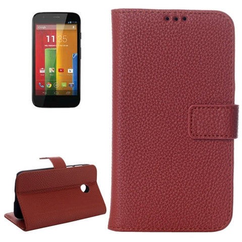 Buy Online  Litchi Texture Magnetic Button Horizontal Flip Leather Case with Card Slots & Holder for Motorola Moto E / XT1021(Brown) Motorola Cases - MEGA Discount Online Store Ghana