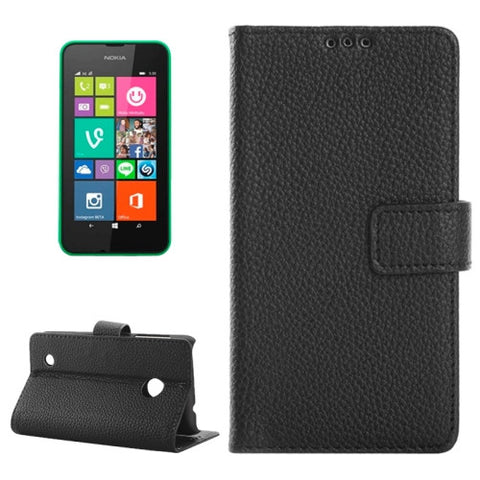 Buy Online  Litchi Texture Horizontal Flip Smart Leather Case with Holder & Card Slots & Wallet for Nokia Lumia 530(Black) Nokia Cases - MEGA Discount Online Store Ghana