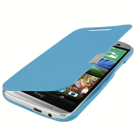 Buy Online  Horizontal Flip Brushed Texture TPU + Grid Texture Plastic Combination Cover with Magnet for HTC One M8 (Blue) HTC One M8 Covers - MEGA Discount Online Store Ghana
