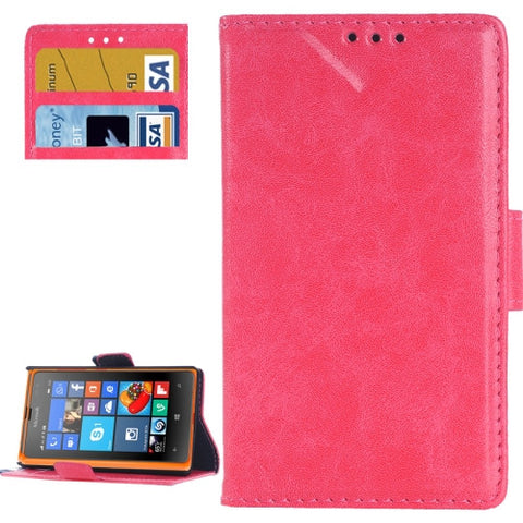 Retro Oil PU Leather Case with Card Slots & Wallet & Holder for Microsoft Lumia 532(Magenta) Microsoft Cases - MEGA Discount Online Store Ghana