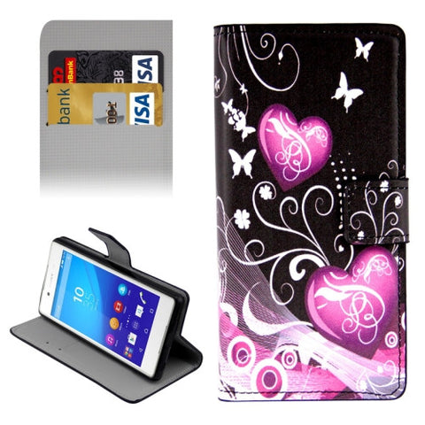 Buy Online  Plain Weave Horizontal Flip Heart Pattern Leather Cover with Holder & Card Slots & Wallet for Sony Xperia Z4 Sony Cases - MEGA Discount Online Store Ghana