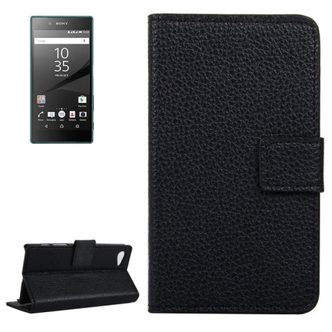 Buy Online  Litchi Texture Horizontal Flip Leather Case with Holder & Card Slots & Wallet for Sony Xperia Z5 Compact(Black) Sony Cases - MEGA Discount Online Store Ghana