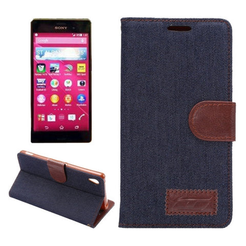 Denim Texture Horizontal Flip Magnetic Buckle Leather Case with Card Slots & Holder for Sony Xperia Z3+(Black) Sony Cases - MEGA Discount Online Store Ghana