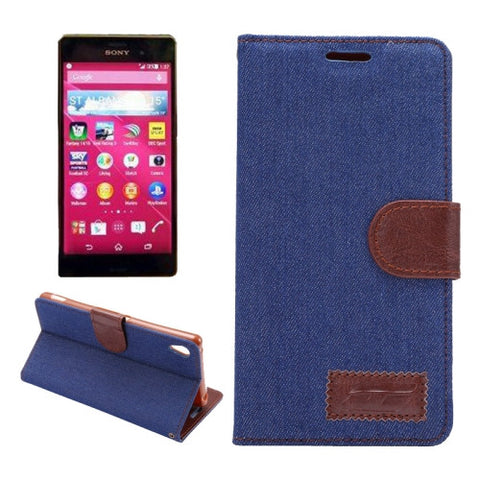 Denim Texture Horizontal Flip Magnetic Buckle Leather Case with Card Slots & Holder for Sony Xperia Z3+(Dark Blue) Sony Cases - MEGA Discount Online Store Ghana