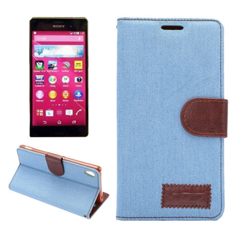 Denim Texture Horizontal Flip Magnetic Buckle Leather Case with Card Slots & Holder for Sony Xperia Z3+(Blue) Sony Cases - MEGA Discount Online Store Ghana