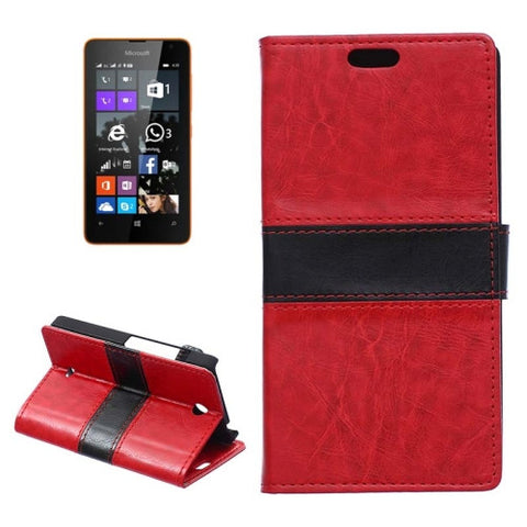 Buy Online  Crazy Horse Texture Horizontal Flip Color Matching Leather Case with Card Slots & Wallet & Holder for Microsoft Lumia 430(Red) Microsoft Cases - MEGA Discount Online Store Ghana