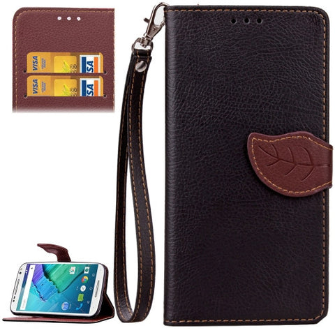 Buy Online  Leaf Magnetic Snap Litchi Texture Horizontal Flip Leather Case with Card Slots & Wallet & Holder & Lanyard for Motorola Moto X Style(Black) Motorola Cases - MEGA Discount Online Store Ghana