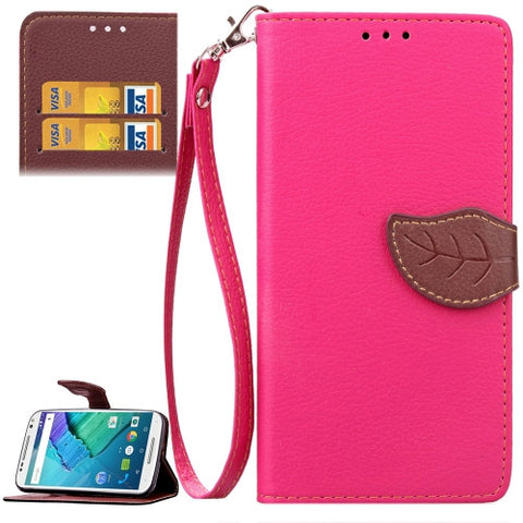 Buy Online  Leaf Magnetic Snap Litchi Texture Horizontal Flip Leather Case with Card Slots & Wallet & Holder & Lanyard for Motorola Moto X Style(Magenta) Motorola Cases - MEGA Discount Online Store Ghana