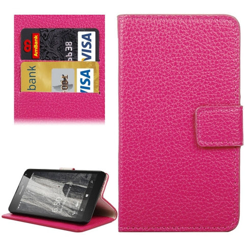 Buy Online  Litchi Texture Horizontal Flip Leather Case with Holder & Card Slots & Wallet for Microsoft Lumia 650(Magenta) Microsoft Cases - MEGA Discount Online Store Ghana