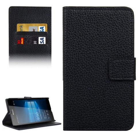 Buy Online  Litchi Texture Horizontal Flip Leather Case with Holder & Card Slots & Wallet for Microsoft Lumia 950 XL(Black) Microsoft Cases - MEGA Discount Online Store Ghana