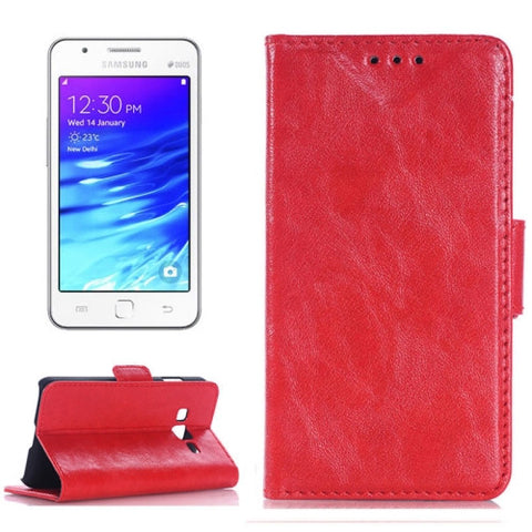 Buy Online  Oil Skin Texture Horizontal Flip Leather Case with Card Slots & Wallet & Holder for Samsung Z1/Z130H(Red) Samsung Cases - MEGA Discount Online Store Ghana