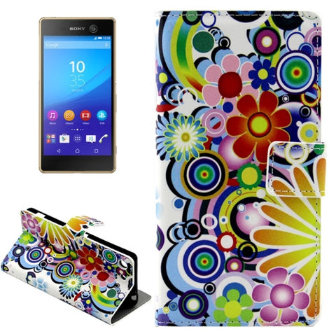 Buy Online  Colorful Flowers Pattern Horizontal Flip Leather Case with Holder & Card Slots & Wallet for Sony Xperia M5 Sony Cases - MEGA Discount Online Store Ghana