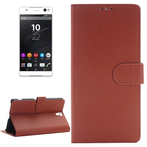 Buy Online  Litchi Texture Horizontal Flip Solid Color Leather Case with Holder & Card Slots & Wallet for Sony Xperia C5 Ultra(Brown) Sony Cases - MEGA Discount Online Store Ghana