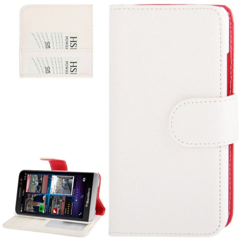 Buy Online  Litchi Texture Flip Leather Case with Credit Card Slots & Holder for BlackBerry Aristo Z30 / A10 (White) Blackberry Cases - MEGA Discount Online Store Ghana