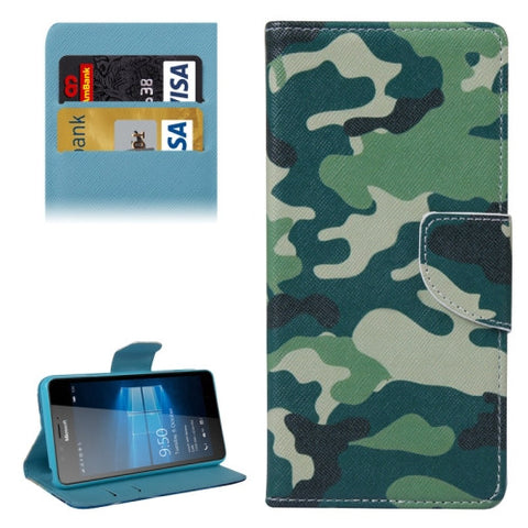 purchase cheap 5cf26 c1ab6 Camouflage Pattern Horizontal Flip Leather Case with Holder & Wallet for  Microsoft Lumia 950