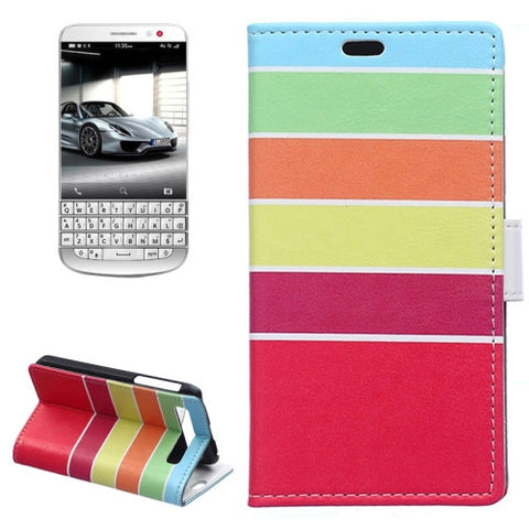 Buy Online  Colour Stripe Pattern Horizontal Flip Magnetic Buckle Leather Case with Card Slots & Wallet & Holder for Blackberry Classic / Q20 Blackberry Cases - MEGA Discount Online Store Ghana
