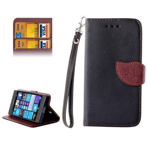 Buy Online  Leaf Magnetic Snap Litchi Texture Horizontal Flip Leather Case with Card Slots & Wallet & Holder & Lanyard for Nokia Lumia 730(Black) Nokia Cases - MEGA Discount Online Store Ghana
