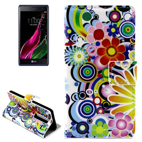 Buy Online  Colorful Flowers Patterns Horizontal Flip Leather Case with Card Slots and Holder for LG Class / LG Zero LG Cases - MEGA Discount Online Store Ghana