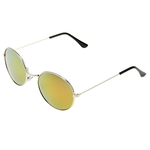 e042fdf761 Oval Retro UV400 UV Protection Metal Frame AC Lens Sunglasses (Silver +  Red) Sunglasses