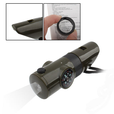 7 in 1 (Survival Whistle / Compass / Thermometer / LED Light / Magnifier / Retroreflector / String)