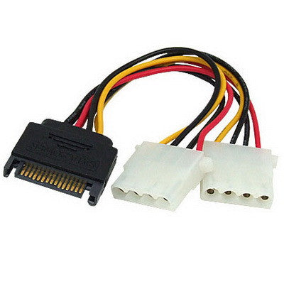 Buy Online  15 Pin to 2 x 4 Pin SATA Power Molex Power Y-Cable, Length: 15.2cm Computer Accessories - MEGA Discount Online Store Ghana