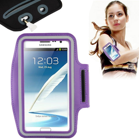 Buy Online  Universal PU Sports Armband Case with Earphone Hole for Samsung Galaxy Note 4 / N910 / Note III / N9000 / II / N7100 / i9220 / N7000 / N7005 / Sony Z2 / Z1(Purple) Universal Cases - MEGA Discount Online Store Ghana
