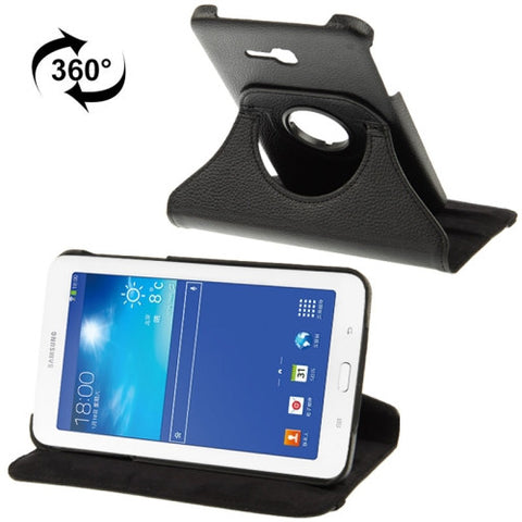 Buy Online  360 Degree Rotatable Litchi Texture Leather Case with 2-angle Viewing Holder for Samsung Galaxy Tab 3 Lite T110 / T111 (Black) Samsung Cases - MEGA Discount Online Store Ghana