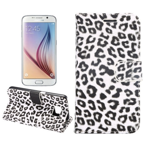 Leopard Texture Leather Cover with Holder & Card Slots & Wallet for Samsung Galaxy S6(White) Samsung Cases - MEGA Discount Online Store Ghana