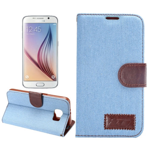 Denim Texture Leather Cover with Holder & Card Slots for Samsung Galaxy S6(Blue) Samsung Cases - MEGA Discount Online Store Ghana