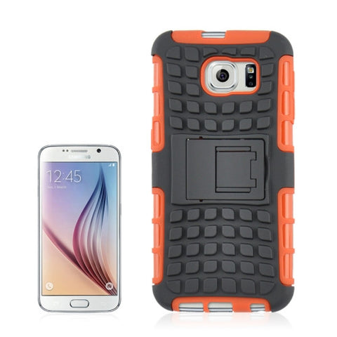 2 in 1 Tyre Texture Back Cover Protective Cover with Holder for Samsung Galaxy S6(Orange) Samsung Cases - MEGA Discount Online Store Ghana