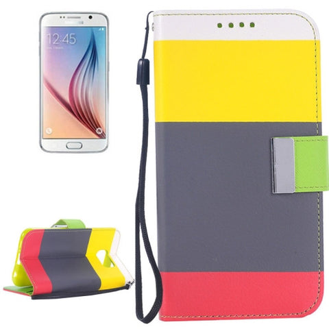 Buy Online  Rainbow Stripe Texture Horizontal Flip Magnetic Buckle Leather Cover with Card Slots & Wallet & Holder & Lanyard for Samsung Galaxy S6 / G920 Galaxy S6 Covers - MEGA Discount Online Store Ghana