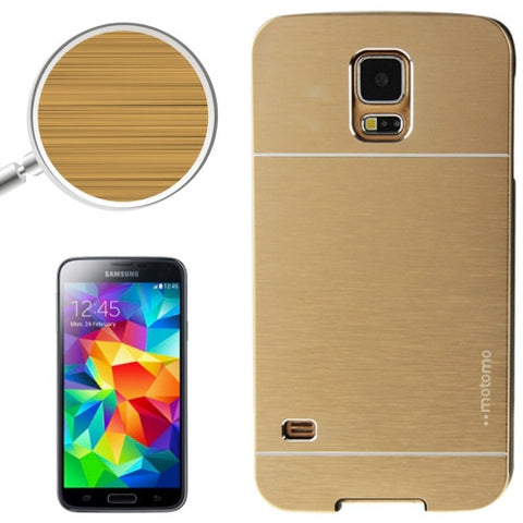 2 in 1 Brushed Texture Metal & Plastic Protective Cover for Samsung Galaxy S5(Gold) Samsung Cases - MEGA Discount Online Store Ghana