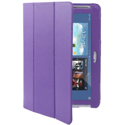 Buy Online  3-fold Litchi Texture Leather Cover with Holder for Samsung Galaxy Note (10.1) / N8000 / N8010 (Purple) Samsung Cases - MEGA Discount Online Store Ghana