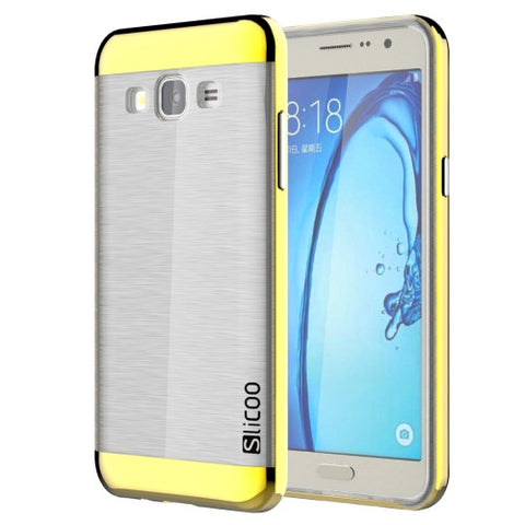 Buy Online  Slicoo for Samsung Galaxy On5 / G550 Brushed Texture Electroplating Transparenct TPU + PC Combination Case (Gold) Samsung Cases - MEGA Discount Online Store Ghana