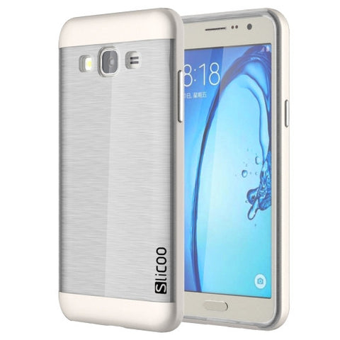 Slicoo for Samsung Galaxy On7 / G600 Brushed Texture Electroplating Transparenct TPU + PC Combination Case (White) Samsung Cases - MEGA Discount Online Store Ghana