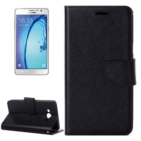 Buy Online  Samsung Galaxy On7 / G600 Cross Texture Horizontal Flip Solid Color Leather Case with Holder & Card Slots & Wallet (Black) Samsung Cases - MEGA Discount Online Store Ghana