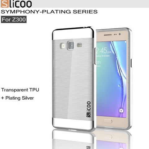 Slicoo for Samsung Z3 Brushed Texture Transparenct Electroplating TPU + PC  Combination Case (Silver)