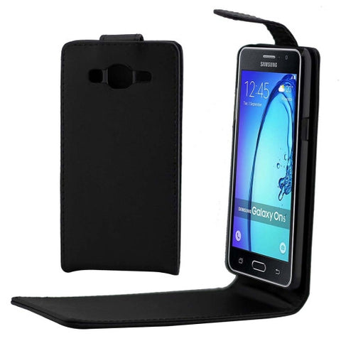 Buy Online  Samsung Galaxy On5 / G5500 Khaki Lining Vertical Flip Magnetic Buckle PU Leather Case (Black) Samsung Cases - MEGA Discount Online Store Ghana