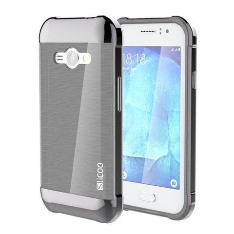 Buy Online  Slicoo Brushed Texture Electroplating PC + TPU Combination Case for Samsung Galaxy J1 Ace / J110(Grey) Samsung Cases - MEGA Discount Online Store Ghana