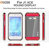 Buy Online  Slicoo Brushed Texture Electroplating PC + TPU Combination Case for Samsung Galaxy J1 Ace / J110(Red) Samsung Cases - MEGA Discount Online Store Ghana