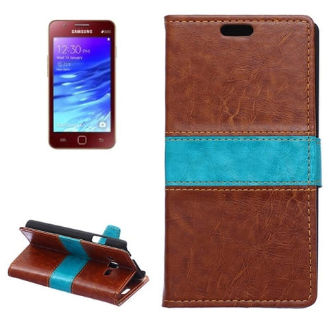 Crazy Horse Texture Horizontal Flip Color Matching Leather Case with Card Slots & Wallet & Holder for Samsung Z1 / Z130(Brown) Samsung Cases - MEGA Discount Online Store Ghana