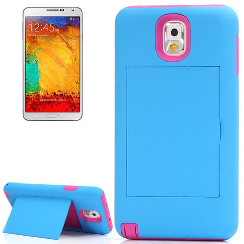 Buy Online  Silicone + Plastic Combination Cover with Holder for Samsung Galaxy Note III / N9000 (Blue + Magenta)(Blue) Samsung Cases - MEGA Discount Online Store Ghana