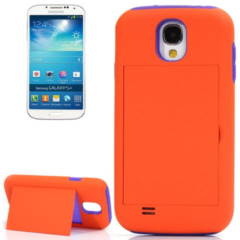 Buy Online  Silicone + Plastic Combination Cover with Holder for Samsung Galaxy S IV / i9500 (Orange + Purple)(Orange) Samsung Cases - MEGA Discount Online Store Ghana