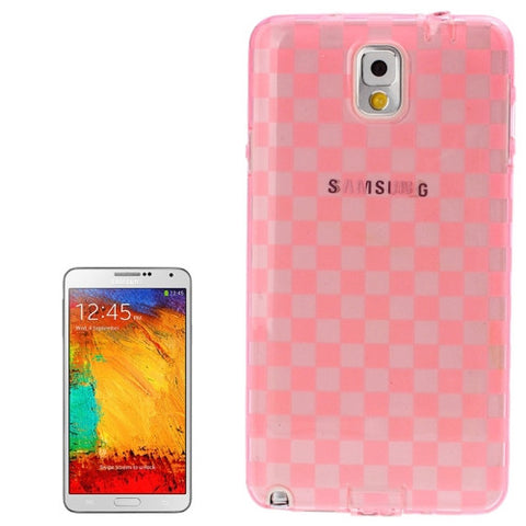 Buy Online  Grid Pattern Translucent TPU Protective Cover with Anti-dust Plug for Samsung Galaxy Note III / N9000 (Pink) Samsung Cases - MEGA Discount Online Store Ghana