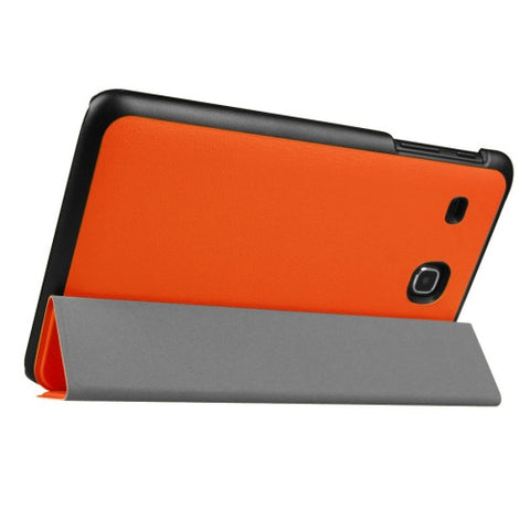 Custer Texture Horizontal Flip Solid Color Leather Case with Three-folding Holder for Samsung Galaxy Tab E 8.0 / T377V(Orange) Samsung Cases - MEGA Discount Online Store Ghana