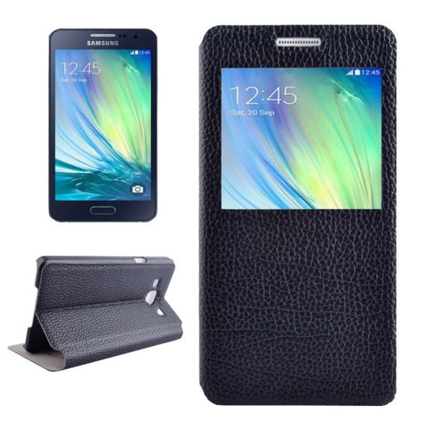 Litchi Texture Solid Color Horizontal Flip Leather Case with Holder & Caller ID Window for Samsung Galaxy A3 / A300(Black) Samsung Cases - MEGA Discount Online Store Ghana