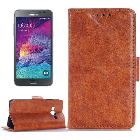 Buy Online  Oil Skin Texture Horizontal Flip Leather Case with Card Slots & Wallet & Holder for Samsung Galaxy Grand Max/G7200(Brown) Samsung Cases - MEGA Discount Online Store Ghana