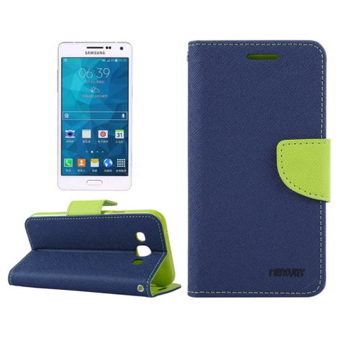 MERCURY Cross Texture Contrast Color Style Leather Case with Holder & Card Slots & Wallet for Samsung Galaxy A3 / A300(Dark Blue) Samsung Cases - MEGA Discount Online Store Ghana